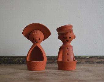Set of Two Vintage Danish Modern Pixie Planter or Tea Light Terra Cotta Pottery. Ireen Keramiks Mid Century Danish Handmade in Denmark