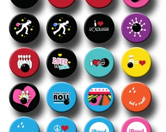 Bowling Sports Theme Party Favors 1 inch pinback button or flatback button, pin badge Bowling Theme Party