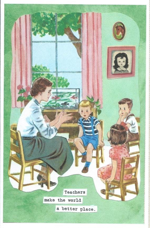 School Teacher, Blank Card with students, kindergarten classroom, handpainted background,  vintage antique look by River Spring Cards