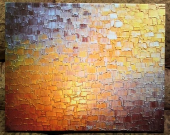 Signed Pre-Stretched PRINT On CANVAS of Original Gold Bronze Metallic Textured Painting - Path To Gold - Customer Chooses Size
