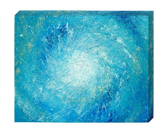 "Signed PRINT ON CANVAS of Original Modern Abstract Blue Colorful Ocean Painting By Dan Lafferty - ""Eye Of The Storm"" - Customer Chooses Size"