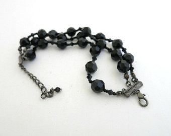 Black Crystal Glass Bead Multi Strand Bracelet