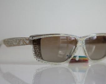 Vintage Polaroid Crystal  Frame, Silver, Gold Snake Skin, Brown, POLAROID 8627B. Polarizing Lenses. Made in Italy