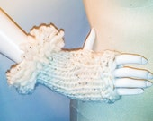 Fur Fingerless Gloves   Ivory Tweed, extra long, soft wool, matching pieces, fingerless, made in vermont, warm, unique, hand knit