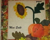 SUNFLOWER PUMPKIN ACORNS Felted Appliques on Quilted Background Country Seasonal Wall Hanging