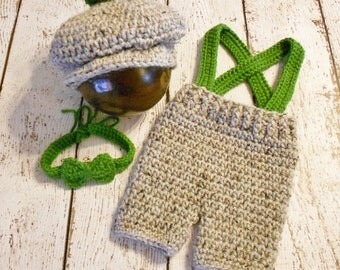 Crochet Golf Hat Set- Newborn- Grey Marble and Kelly Green