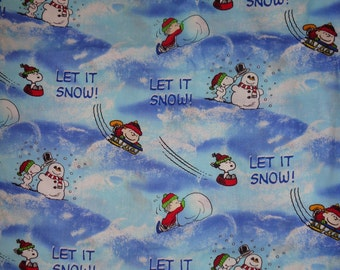 16 Inches Blue Peanuts Let it Snow Cotton Fabric