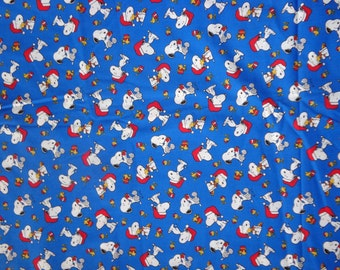 Blue Snoopy/Woodstock Christmas Cotton Fabric by the Half Yard