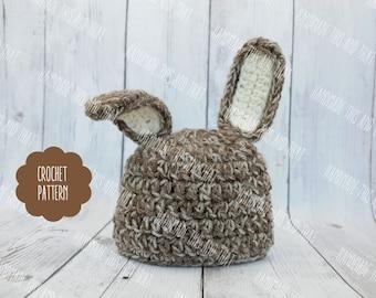 CROCHET PATTERN - Newborn baby bunny hat, newborn bunny hat, newborn easter photo prop, easter outfit