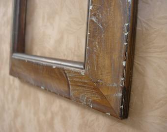 6 x 6 wood handmade brown distressed art frame
