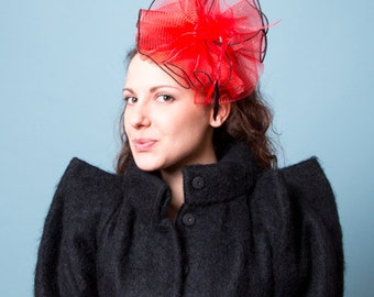 Red Headband Fascinator accented with feathers