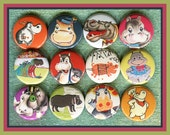 "12 fun hippopotamus Hippos 1"" inch buttons, medallions or magnets SET A"