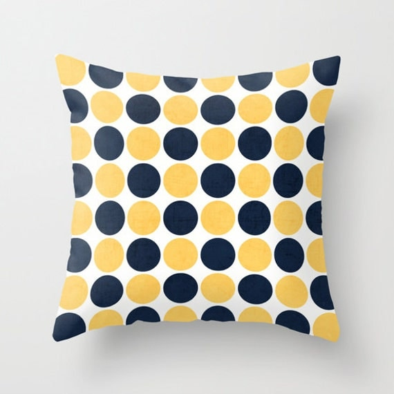 Etsy Navy Throw Pillow : Navy and Yellow Dots Throw Pillow Geometric by LushTartArtProject