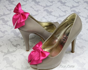 Shocking Pink Satin Bow Shoe Clips, Shocking Pink Wedding Accessories Shoes Clip