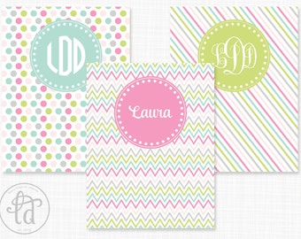 2015-2016 Personalized Printable Student Planner - Letter Size - Pink, Aqua, and Gray  - INSTANT DOWNLOAD