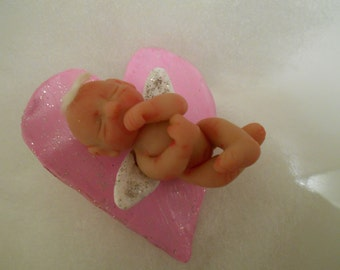 Ooak Art Pure Sculpt Memorial Angel Clay Baby.