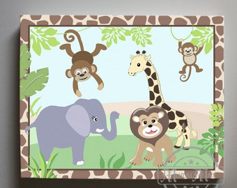 Peek a Boo Jungle Baby Nursery Art - Elephant Canvas Art , Jungle Nursery Decor  - Boys Room Decor -  Match with Peek a Boo Jungle Bedding