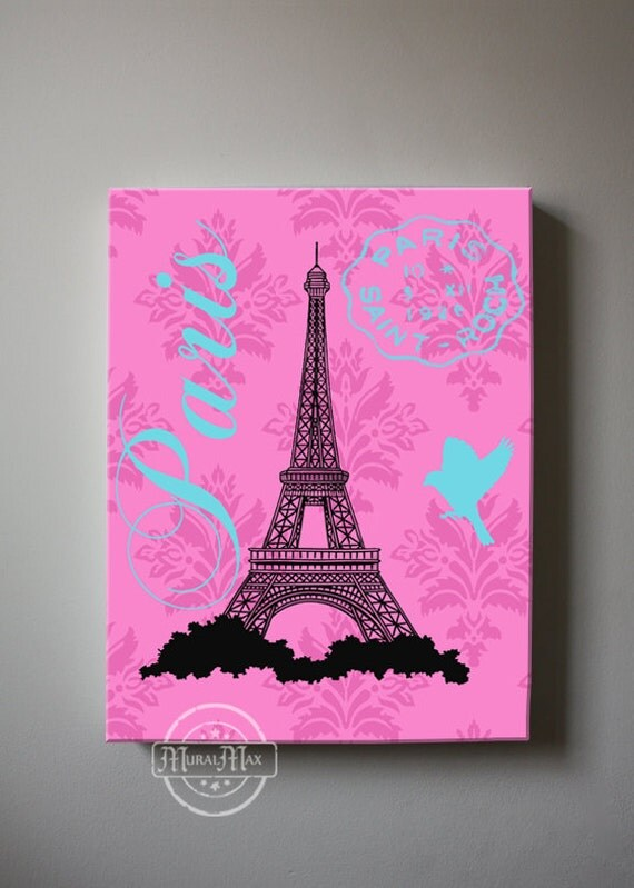 Paris Eiffel Tower Canvas Art Girl Room Decor Canvas Wall