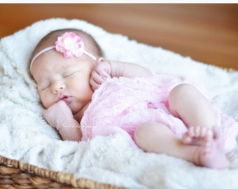 Pink variegrated Flower with Pink Cheesecloth...Baby Bows...Photography Prop...Baby Girl Headband...Cheesecloth Wrap