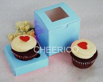 25 sets of Baby Blue Cupcake Box with 1 Blue Cupcake Holder