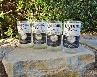 Corona Beer Bottle Glasses  Set of 4