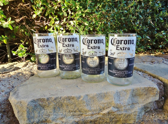 Items similar to corona beer bottle glasses set of 4 on etsy for How to make corona glasses