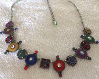 Vintage Multi Colored Rhinestone Enamel Necklace.