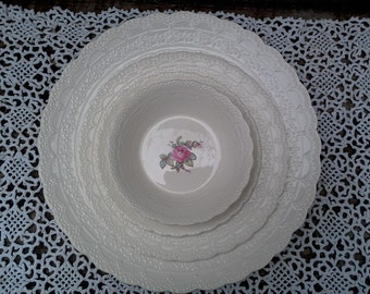 Spode's Jewel Billingsley Dinnerware Set of 4 pieces, Rose Pattern, Serving, Dinnerware, Pink Transferware, English Transferware