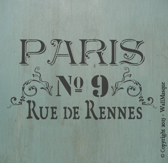 paris rue de rennes stencil from wallmasquestencilco on. Black Bedroom Furniture Sets. Home Design Ideas