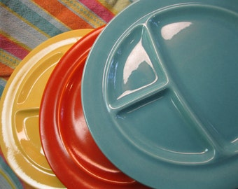 Metlox Grill Plates, 100 Series, 1930's California Pottery, Orange, Turquoise