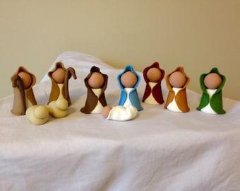Ten Piece Nativity Set - (Mary, Joseph, baby Jesus, 2 Sheep, 2 Sheperds, 3 Wisemen)