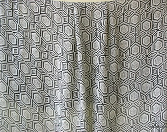 Geometric Print Black and Creamy White Georgette Fabric for Scarves /  Dress etc..