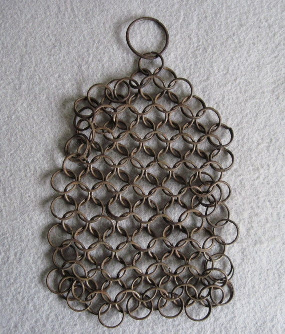 Antique metal chain mail pot scrubber rings early