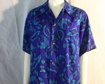 Vintage Bark Cloth Aloha Shirt, 1970's Luau Shirt, Medium