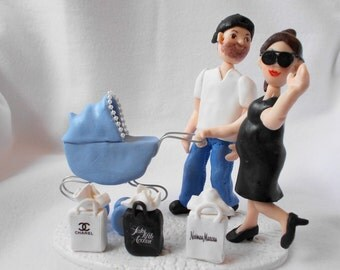 Custom Baby Shower Cake Topper, Polymer Clay Cake Topper,  Custom Figurine.  A  Hand Crafted Art Sculpture.