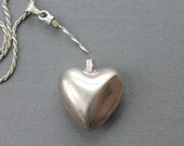 Sterling Perfume Pendant Necklace, vintage sterling perfume decanter, perfume bottle necklace, LONG sterling necklace, vintage perfume heart