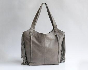 SALE \ Gray Leather Tote - Soft Leather Bag - EveryDay Bag - Fringe Bag - Large Tote - Women HandBag