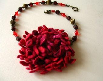Hand felted Dahlia Felted flower brooch red Felt brooch Merino wool brooch Felt jewelry Ready to ship