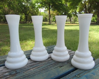 Vintage Milk Glass vase, Set of 4 Milk Glass vases, White Vases, Bud Vases