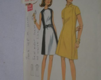 UNCUT and FF Pattern Pieces Vintage 60s Butterick Sewing Pattern 4795 Size 12  Bust 34 One Piece Dress