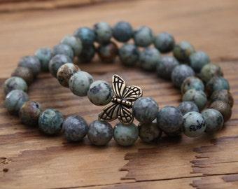 turquoise bracelet butterfly bracelet butterfly jewelry bracelet beaded bracelet butterfly gifts Mother's Day gift