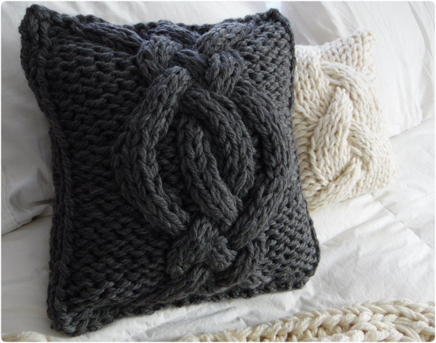 Knitting Pillows : Made to order twisted cable knit pillow