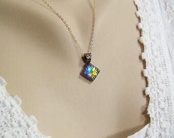 Aurora Borealis Necklace, Chessboard Swarovski Crystal, Crystal Necklace, Square Crystal Necklace, AB Crystal Necklace, Crystal Pendant