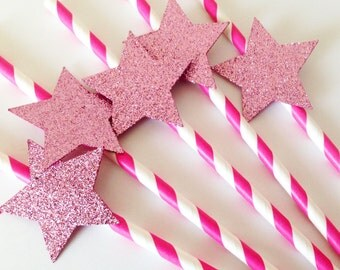 Glitter Star paper straw party decoration baby shower first birthday themed party