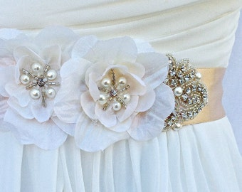 Flower Bridal Sash, Wedding Sash in Champagne & Ivory With Crystals And Pearls Bridal Belt, Wedding Dress Sash, Flower Sash