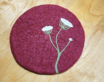 Handmade Wool Felted Hot Pad/Trivet with Needle Felted Queen Anne's Lace Design~Wool Trivet~Wool Hotpad~Felted Trivet~Felt Hotpad