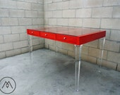 BUILT TO ORDER // Glass Top Desk or Vanity with Lucite Legs - You Choose Finish & Color