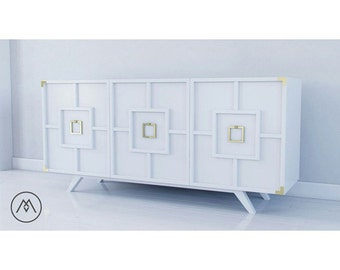 BUILT TO ORDER // Geometric Pattern Credenza With Campaign Accents