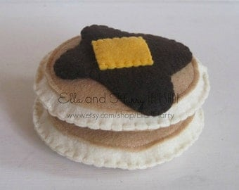 Set of 2 Felt Pancakes with Syrup and Butter ~ READY TO SHIP