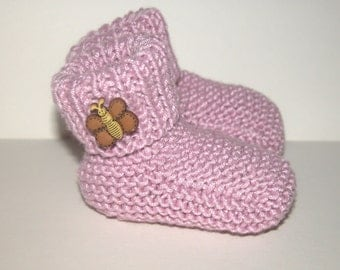 Hand Knitted Pink Baby Booties  knitted in Baby Bamboo Yarn decorated with butterfly buttons